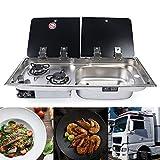 ROMYIX - Cocina de gas con 2 quemadores para caravana, barco, RV, doble portátil con fregadero combinado, tapa de cristal