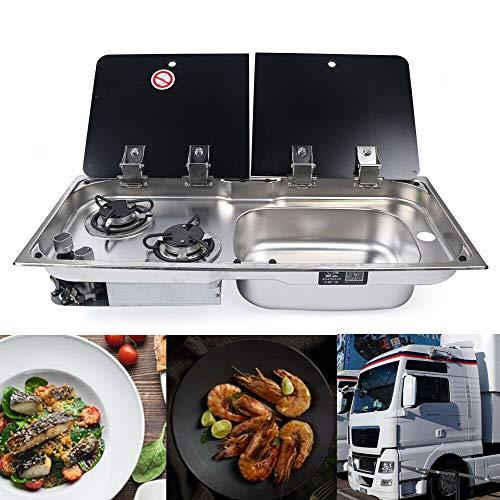 Berkalash Kocher-Spülenkombination, GR-904LD Campingbedarf Kochfeld und Spüle Kombination, mit Glasdeckel, für Auto, LKW, Wohnmobil (Right)