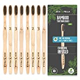 ECOFELLA Natural Bamboo Tooth Brush Set   for Every Set WE Plant 8 Trees   Charcoal Bristles for Teeth Whitening   8X BPA Free & Soft for Sensitive Gums   for Adults & Kids   Incl. Zero Waste Ebook