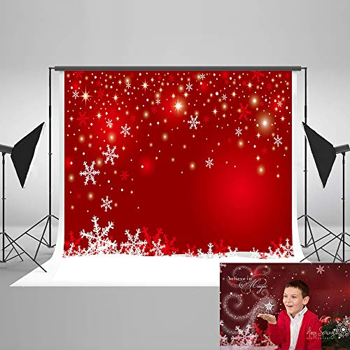 Kate 7x5ft Christmas Backdrops for Photography Snowflake Red Photo Backdrop Studio Background