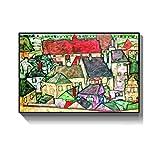 ASLKUYT Abstract Small Town por Egon Schiele Pinturas al óleo Replicación de póster e impresión Arte de la Pared Lienzo Imágenes Decoración para Sala de estar-24x32 IN Sin Marco