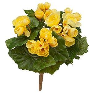 """Silk Flower Arrangements OakRidge Silk Begonia Bush – Artificial Flowers Outdoor Décor – Yellow, 10"""" Long"""