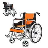 LFLLFLLFL Mobile Wheelchair, Portable Folding Lightweight Power Wheel Chair, Disabled Wagon Big Wheels All Terrain Lightweight Folding Portable Mesh Soft Seat(Orange)