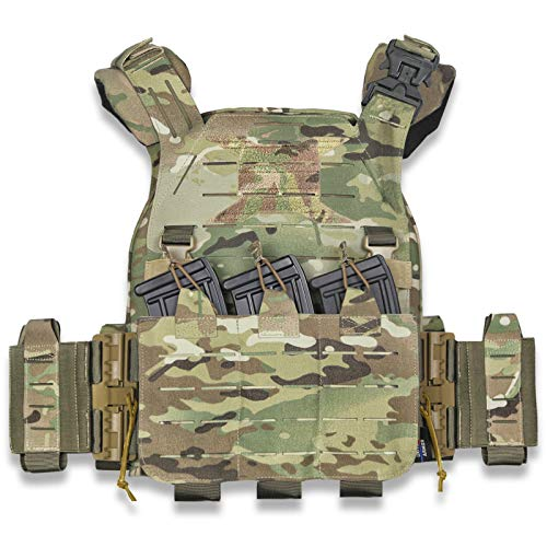 Leic Camouflage Tactical Vest UTA Military Universal Armor Lightweight Flame Retardant Vest for Outdoor CS Training Airsoft Paintball Game