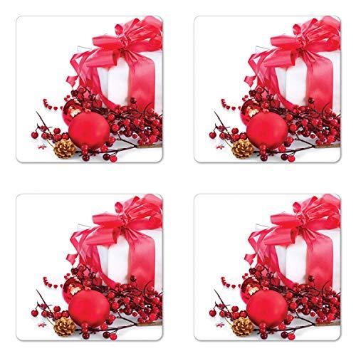 Weihnachts-Untersetzer 4er Set Neujahrsbox mit Beeren Tannenzapfen Kugeln Ende des Jahres Thema Quadratische Keramikuntersetzer für Getränke mit Korkboden Dunkle Koralle und Weiß Weihnachtsgeschenke