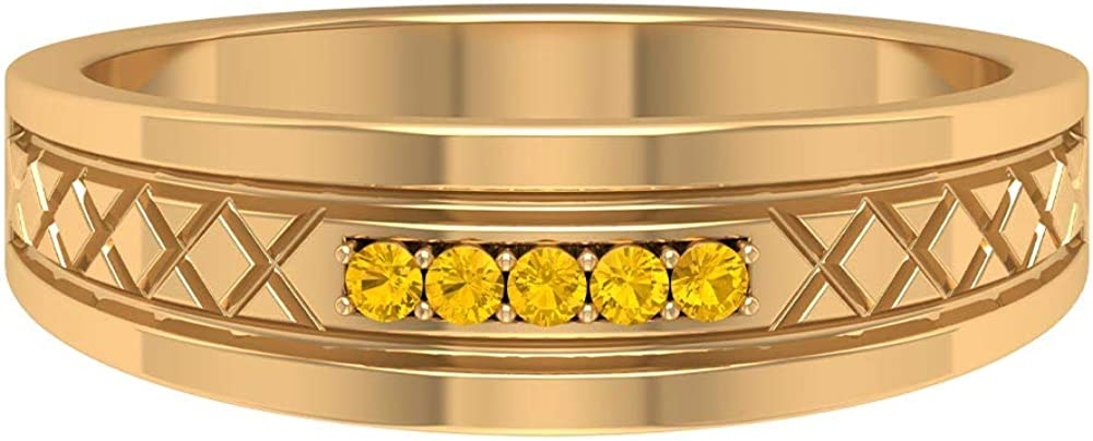 Rosec Jewels - Lab Created Max 74% OFF Tampa Mall Yellow Band Ring Ri Promise Sapphire