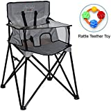 ciao baby - Portable High Chair with Rattle Teether Toy - Grey Check