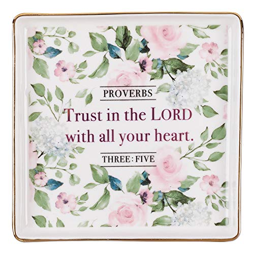 Christian Art Gifts Trust in The Lord - Bandeja para Joyas 3:5, colección Heart