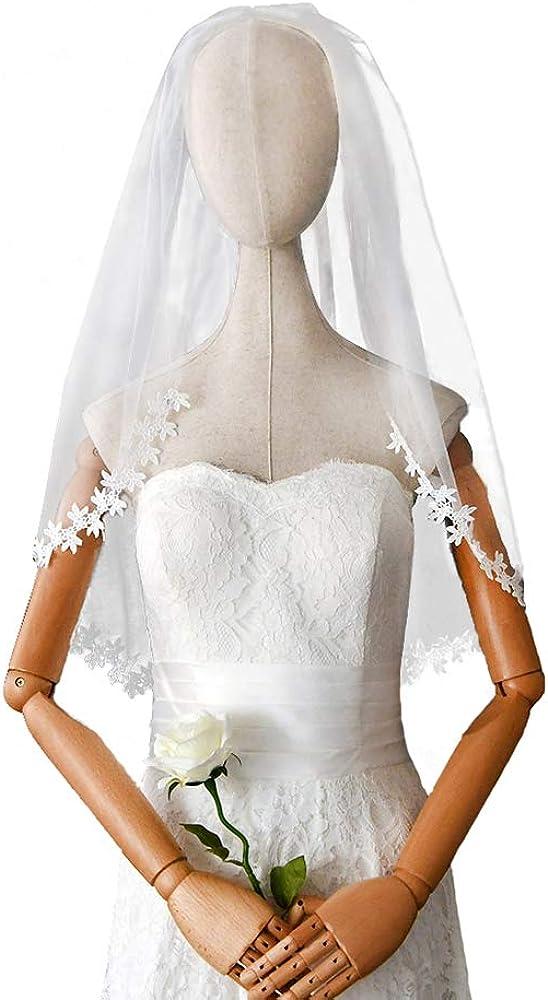 HONGMEI Wedding Veil, Short Bridal Elbow Length Veil with Comb, 1 Tier Flower Vine Edge Bridal Veil