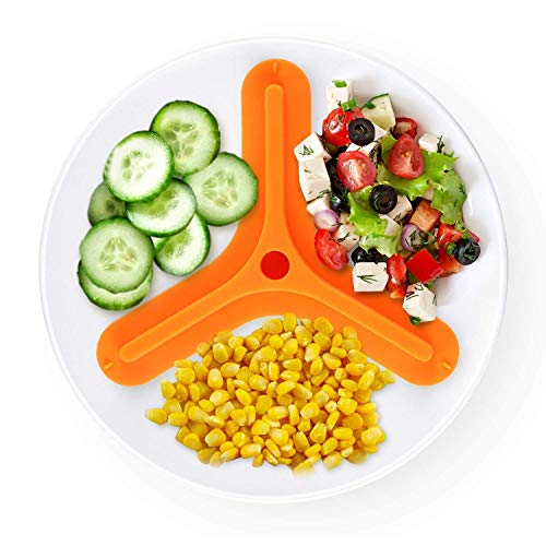 BPA Free Silicone Food Plate Divider 3 divided food plate separator Safe Food Silicone (Orange,Small)