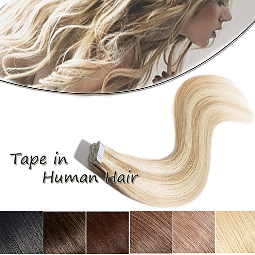 Tape in Human Hair Extension Ash Blonde Mixed Bleach Blonde (#18/613) 18''Long Straight Human Hair 100% Remy Hair Bonding Double Sided Tape Seamless Skin Weft Hair 20pcs/50g + 10pcs Free Tapes