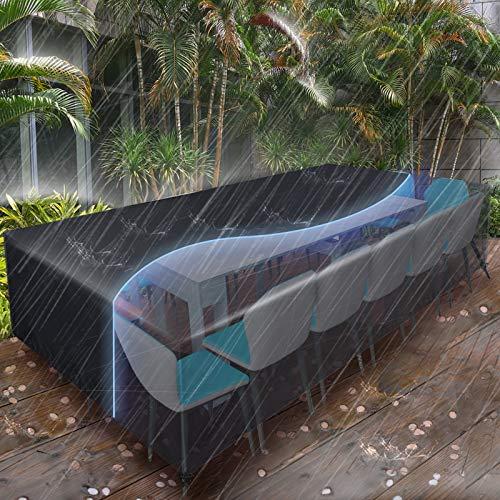 Essort Fundas para muebles de Jardin, Tamaño Grande 315x160x74cm Fundas impermeables para Muebles, Funda rectangular de poliester negro para Mesa y Silla para Patio