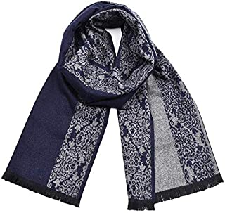 Autumn and Winter Men's Yarn-Dyed Tassel Scarf Chinese Style Blue and White Porcelain Warm Shawl, Blue yppss (Color : Blue, Size : -)