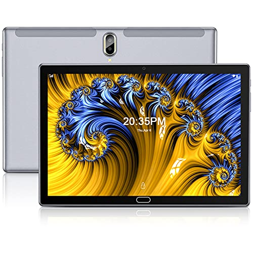 FEONAL Tablet 10 Pulgadas Android 10 4G LTE +WiFi, 4GB RAM+64GB ROM (TF 128GB), Octa-Core, Batería 6000mAh, Tableta con Cámara 13MP+5MP, 1080 FHD IPS, Dual SIM | GPS | OTG | Bluetooth 5.0-Gris