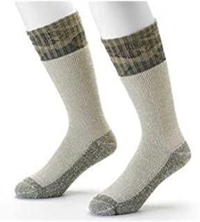 2 Pair Acrylic Blend Boot Socks - Cold Weather Comfort (Olive/Camo)