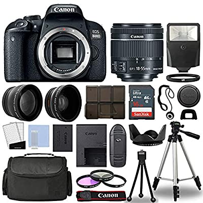 Canon 800D / Rebel T7i DSLR + 18-55mm is STM 3 Lens + 16GB Top Value Bundle - 2X Telephoto Lens + Wide Angle Lens + 3 Piece Filter Kit + Tripod + Lens Hood + Flash + More! - International Version by Thing Big