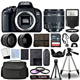 Canon 800D / Rebel T7i DSLR + 18-55mm is STM 3 Lens + 16GB Top Value Bundle - 2X Telephoto Lens + Wide Angle Lens + 3 Piece Filter Kit + Tripod + Lens Hood + Flash + More! - International Version