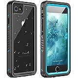 Huakay iPhone 7/8 Waterproof Case, iPhone SE 2020 Waterproof Case Full Body Shockproof Sandproof Dirtproof IP68 Underwater Outdoor Waterproof Case for iPhone 7/8/SE 2020(Blue/Clear)