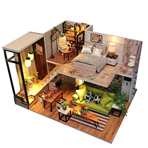 XGLXX Häuser für Minipuppen Miniatur-Puppenhaus Mit Möbeln Satz Holzhaus DIY Hütte Loft-Gebäude-Modell Villa Handgemachte Geburtstagsgeschenk Macht Haus Miniatur Haus