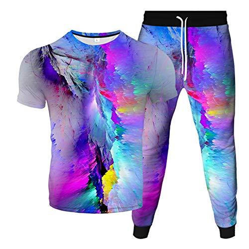 Impresión 3D Color Graffiti Elements Camiseta con Cuello En O + Pantalones Deportivos con Cordones Verano Nuevos Hombre De Dos Piezas Moda Casual Deportes 2 6XL