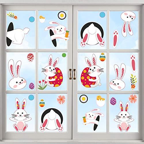 HongJing Fenstersticker Ostern,4 Blatt Fensterdekoration Ostern,wiederverwendbar Ostern Aufkleber,für Schule, Zuhause, Büro Fensterdekoration