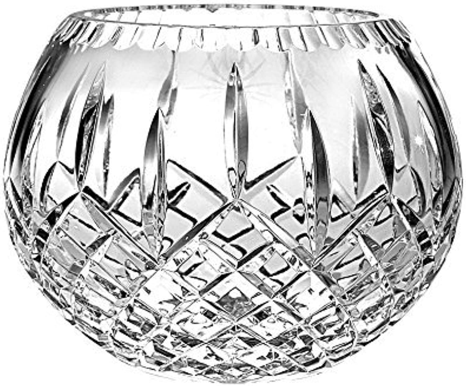 Barski European Hand Cut Crystal Plaza pink Bowl, 6  D (6 inches D) (6  D, in the Plaza Collection)