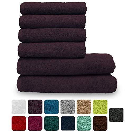 Lanudo Pure Line Handtuch-Set 6 teilig, 2 Duschtücher 70 x 140 cm & 4 Handtücher 50 x 100 cm, Lila