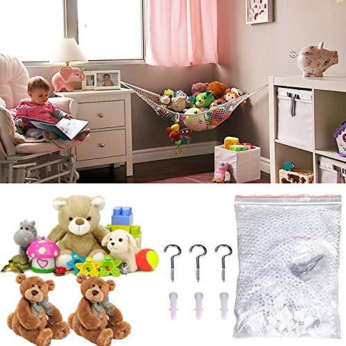 pragatishop - Hamaca de red de juguete suave grande para almacenamiento de animales, oso de peluche, habitación infantil