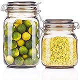 NYKK Barattoli in Vetro per Alimenti Glass Jar Bagagli, Storage Cucina Jars - Grande Secco dispensa Alimentare Contenitori for Cereali, Biscotti, Zucchero, Farina, Un Set di 2 Barattoli e contenitori