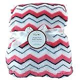 Lollypop Angel Plush Ultra Soft Baby Blanket, 30 in x 40 in, Boys Girls Unisex (Pink/Blue/White Chevron)