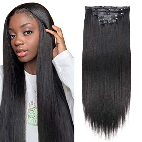 BHF Seamless Clip in Hair Extensions 24 inch Silky Straight Synthetic hair PU Clip in Extensions For Women 7pcs 150g (#1B)