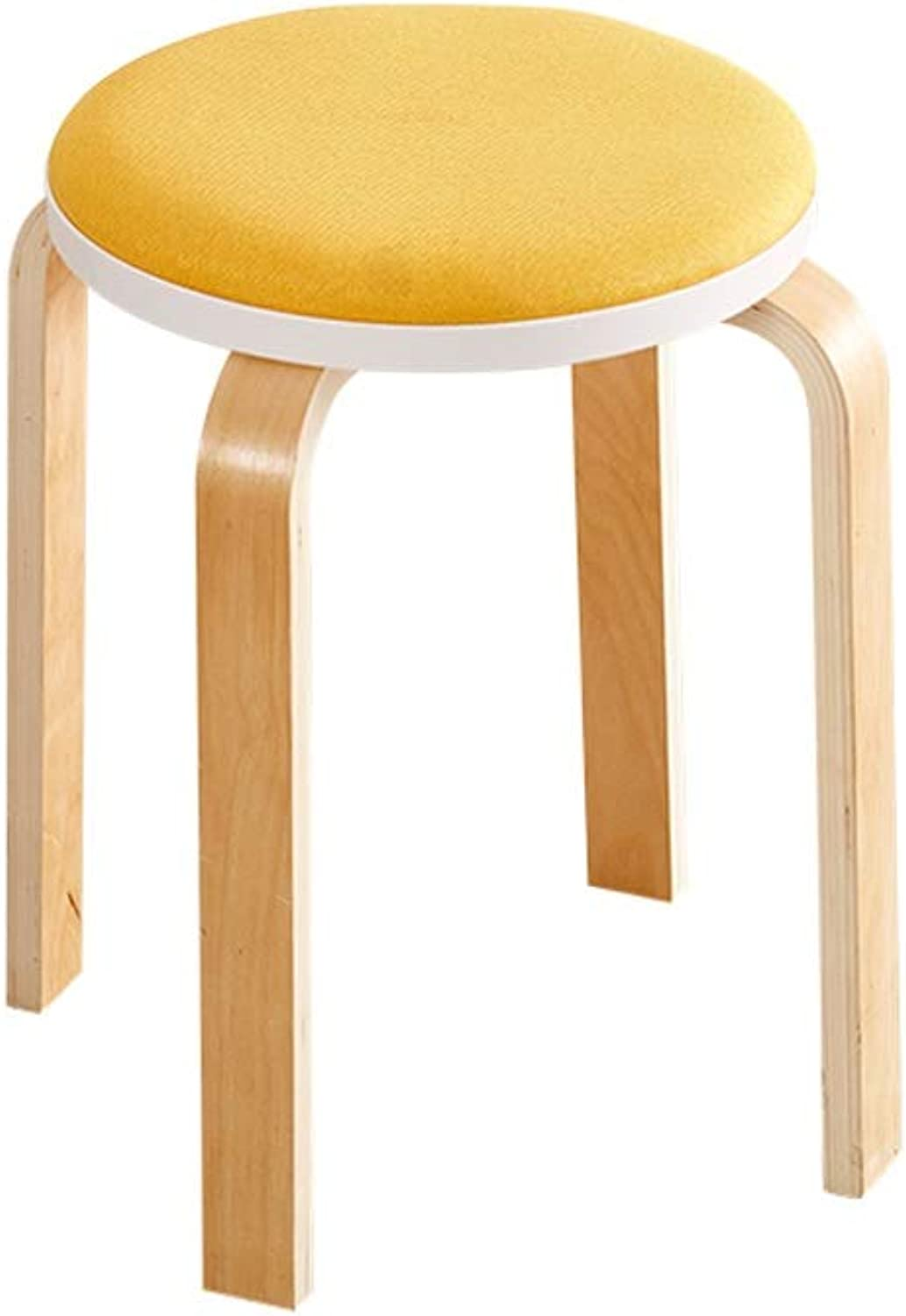 LRZS-Furniture Stool Fashion Creative Dining Table Stool Solid Wood Small Chair Living Room Fabric Bench Adult Home Modern Minimalist Stool (color   Yellow)
