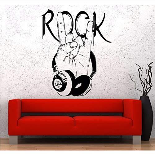 tzxdbh Etiqueta De La Pared De La Música Popular Pared De Vinilo Auriculares Música Signo De Rock Calidad Garantizada Calcomanía 46 * 57 Cm