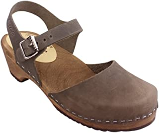 Swedish Clogs Low Wood in Taupe on Brown Base