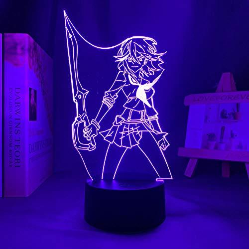 3D Illusion Lampada da tavolo umore Luce notturna Manga Kill La Kill Ryuko Matoi Figura For Peace Decor Bambini Compleanno Anime Camera da letto-16 Colors With Remote