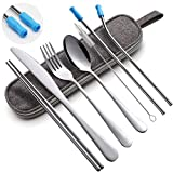 Travel Utensils Set with Case Reusable Portable Cutlery Set Stainless Steel 8pcs Including Dinner Knife Fork Spoon Chopsticks Straws(Silver)