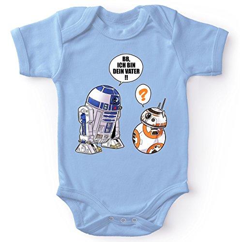 Star Wars Lustiges Blau Baby Strampler - R2-D2 und BB-8 (Star Wars Parodie) (Ref:863)