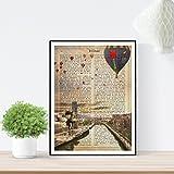 Nacnic Lámina Ciudad de Bilbao. Estilo Vintage. Ilustración, fotografía y Collage con la Historia DE Bilbao. Poster tamaño A4 Impreso en Papel