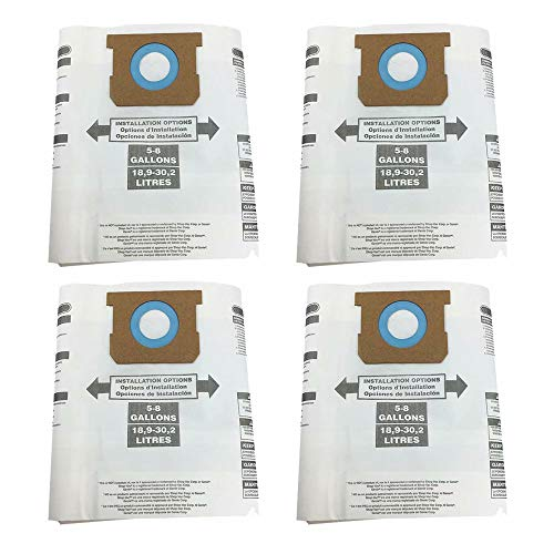 IN VACUUM Disposable Collection Filter Bags for Shop-Vac 9066100 5-8-Gallon, Wet Dry Vac Dust Collection Bags for 5 to 8 Gallon Shop Vacuums, 4 Packs