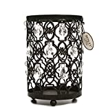 Hosley Oil Rubbed Bronze Romantic Sparkle Lantern 7.8' High. For Use With Glass Jar Candle Size Smaller Than 4' Dia x 6'H or LED Candle, Clear Acrylic Crystal Dangles Ideal for Wedding, Spa, Reiki O7