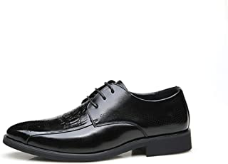 Leather Classic Oxfords for Men Embossed Dress Shoes Lace up Genuine Leather Pointed Toe Perforated Block Heel Soft Non-slip shoes (Color : Black, Size : 43 EU)