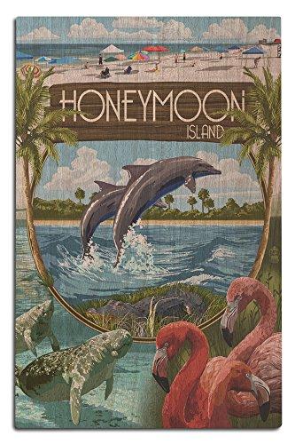 Lantern Press Honeymoon Island, Florida - Montage (12x18 Wood Wall Sign, Wall Decor Ready to Hang)