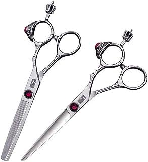 Professional Barber 6-inch Hairdresser Professional Haircut Set, Exquisite Design Flat Scissor+ Tooth Scissor Set Scissors...