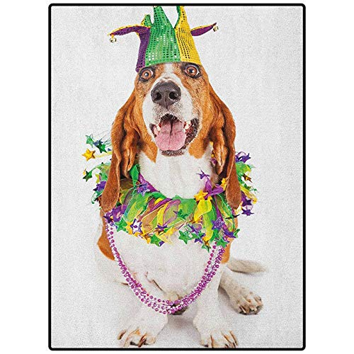 Mardi Gras Pattern Decorative Rug Carpets for Home, Nursery, Bed and Living Room Happy Smiling Basset Hound Dog Wearing a Jester Hat Neck Garland Bead Necklace Multicolor 72' x 48'