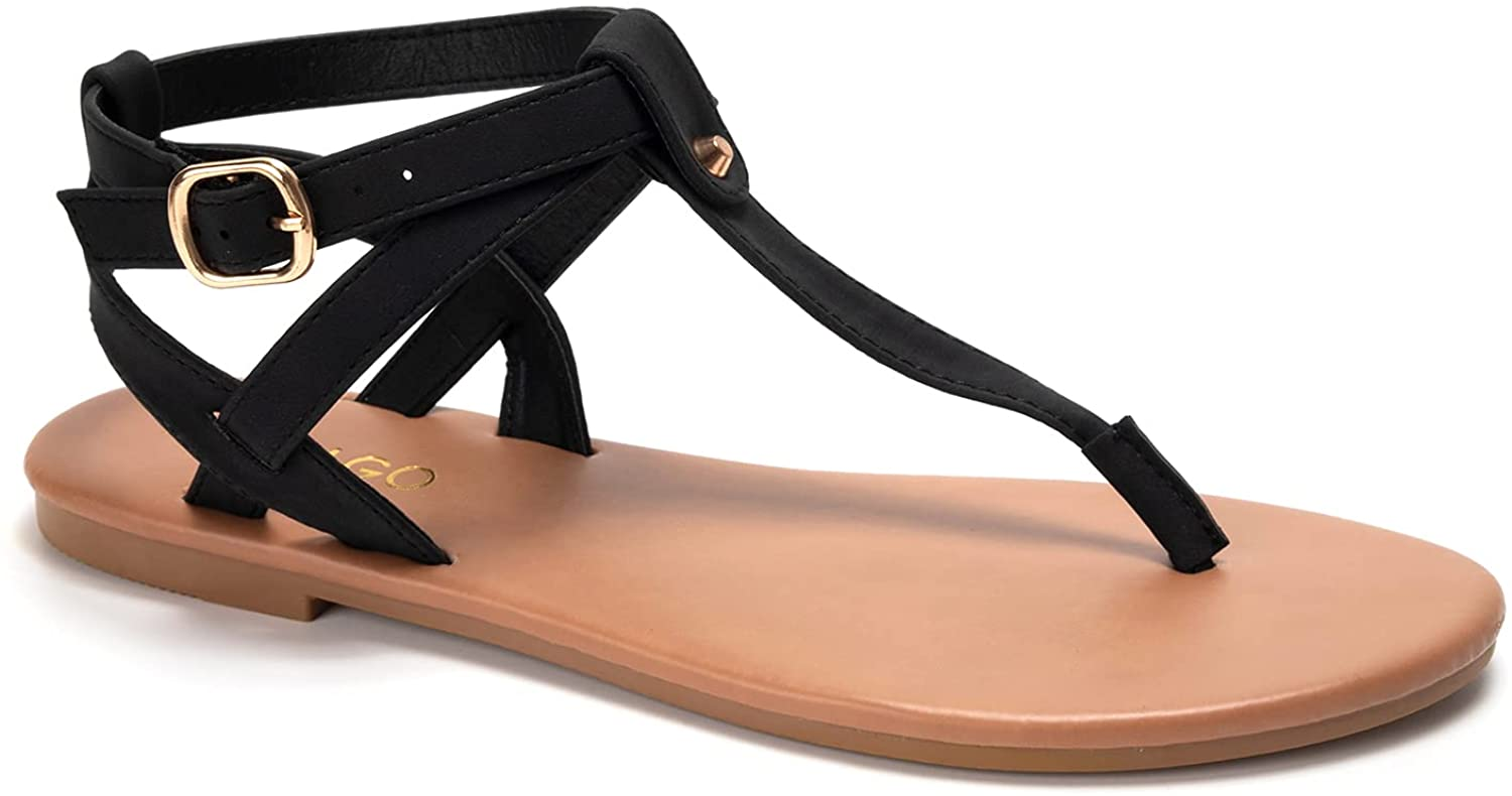 Thong Flat Sandals, Casual T Strap Dress Sandals, Adjustable Ankle Buckle Dress Thong Sandals with Strappy for Women Summer Wedding
