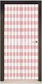 Homesonne Checkered 3D Door Wallpaper Picnic in Countryside Themed Gingham Pattern in Light Colors Print for Bedroom Decoration Pink Light Pink White,W23.6xH78.7