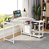 Tribesigns L-Shaped Desk with Bookshelf, Industrial 54' Corner Computer Office Desk with Storage for Home Office (White)