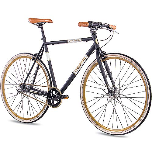 CHRISSON 28 Zoll Retro Rennrad Vintage Bike - Vintage Road N3 schwarz 56 cm mit 3 Gang Shimano Nexus Nabenschaltung, Urban Old School Fahrrad für Damen und Herren