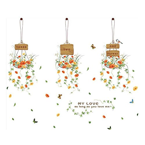 Winhappyhome Hanging Basket Flowers Art Muraux Stickers pour Chambre à Coucher Salon Café-restaurante Glass Window Décalcomanies Décor Amovibles