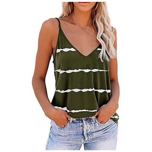 RONGYP Chaleco para mujer, verano, tiempo libre, moderno, escote en V, camisola, clásico, estampado a rayas, top con tirantes y corte holgado Verde militar. XXL